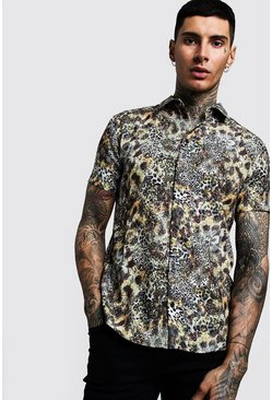 Mens Brown Mixed Animal Print Short Sleeve Shirt