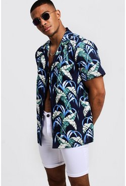 Mens Black Cobalt Palm Print Oversized Short Sleeve Shirt