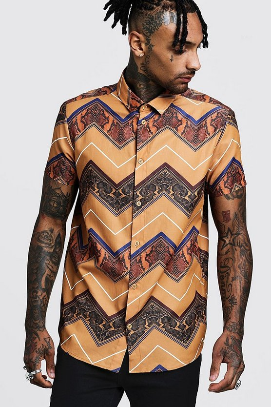Mens Brown Animal Chevron Short Sleeve Shirt