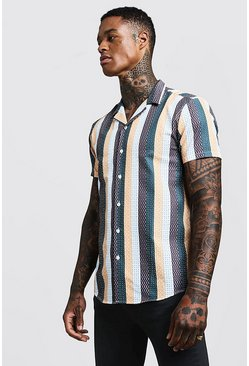 Mens White Mixed Stripe Short Sleeve Revere Shirt