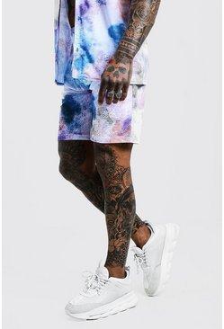 Mens Blue Tie Dye Mid Length Short