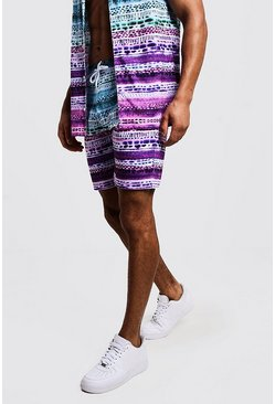 Mens Purple Tie Dye Mid Length Short