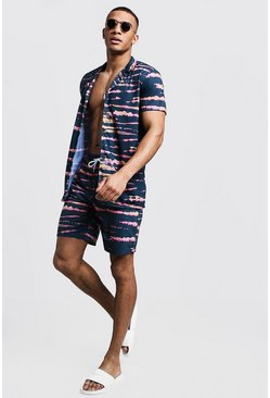 Mens Navy Tie Dye Revere Shirt & Short Set