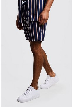 Mens Black Vertical Stripe Mid Length Short