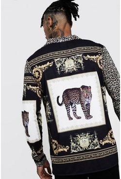 Mens Brown Animal Placement Long Sleeve Shirt