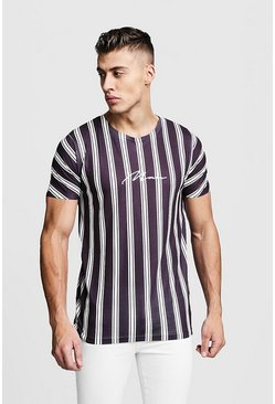 Mens Black MAN Signature Stripe T-Shirt