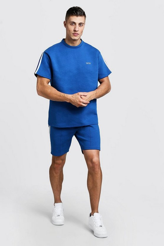 Mens Cobalt Scuba MAN T-Shirt & Short Set With Tape