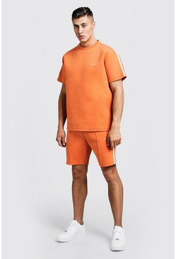 "Seit aus T-Shirt mit ""Scuba MAN""-Print & Shorts mit Band, Orange, Herren"