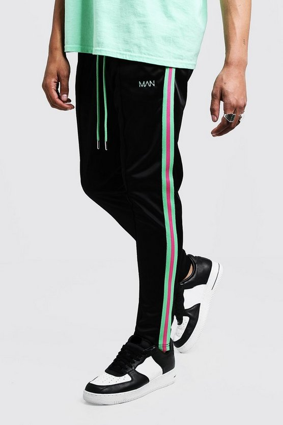 Mens Black Original MAN Tricot Skinny Fit Joggers With Tape