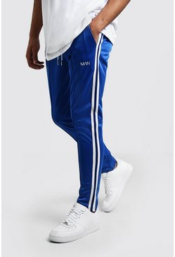 Mens Cobalt Original MAN Tricot Skinny Fit Joggers With Tape