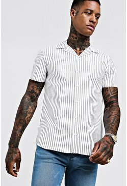 Mens White Slim Stripe Short Sleeve Revere Shirt