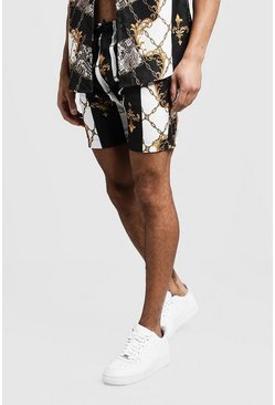 Mens Black Baroque Chain Mid Length Short