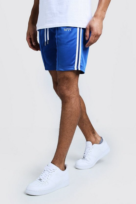Mens Cobalt Tricot Tape MAN Mid Length Short