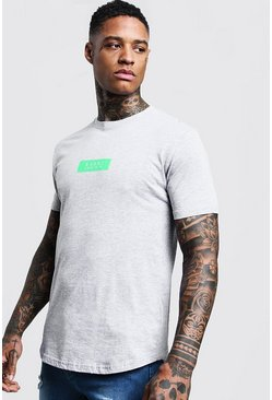 Mens Grey Neon MAN Box Logo Longline T-Shirt
