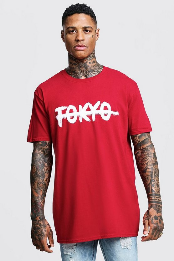 Mens Red Tokyo Printed Oversized T-Shirt