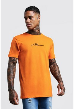 Herr Orange MAN Signature Chest Embroidered Longline T-Shirt