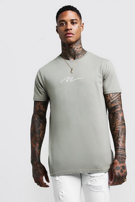 Mens Sage silver MAN Signature Chest Embroidered Longline T-Shirt