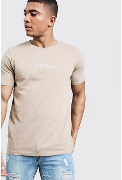 Herr Taupe MAN Signature Embroidered T-Shirt