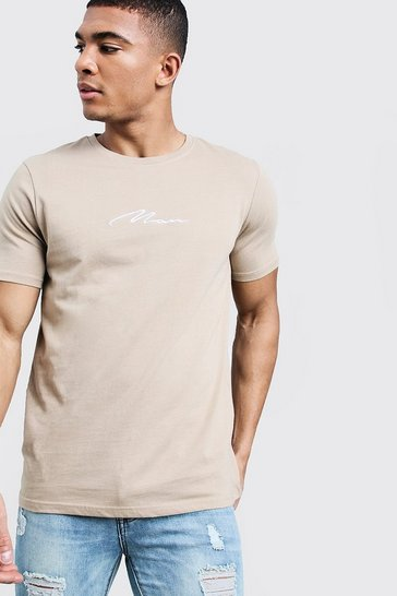 Mens Taupe MAN Signature Embroidered T-Shirt