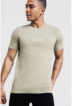 Mens Sage silver Original MAN Print Muscle Fit T-Shirt