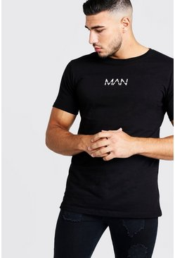 "Camiseta larga con estampado original ""MAN"", Negro"