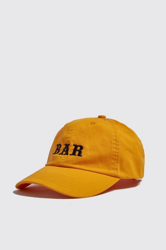 Mens Mustard 'BAR' Embroidered Cap