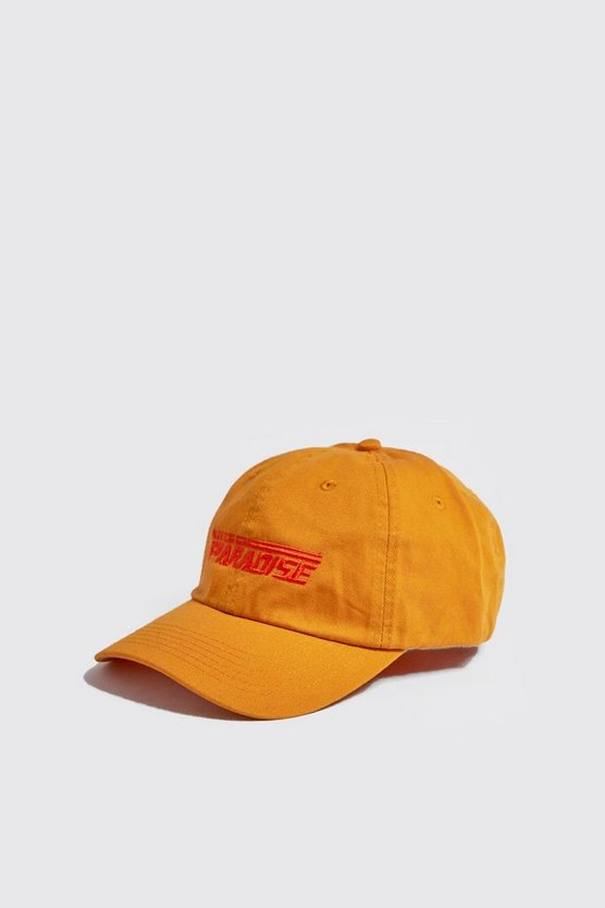 Mens Mustard 'PARADISE' Embroidered Cap