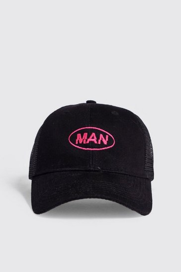 Mens Black MAN Distort Neon Embroidered Trucker Cap