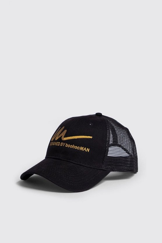 Black Gold M Embroidered Trucker Cap