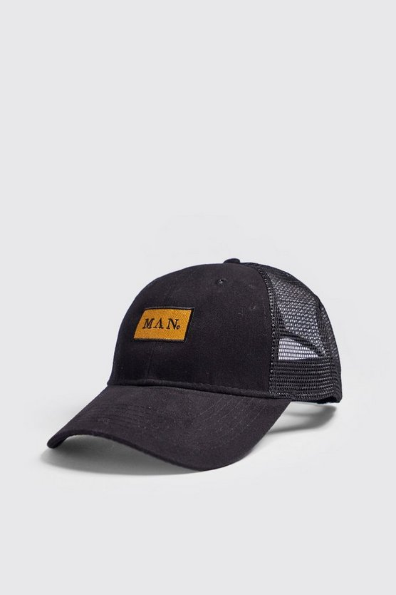Mens Black MAN Gold Box Embroidered Trucker Cap