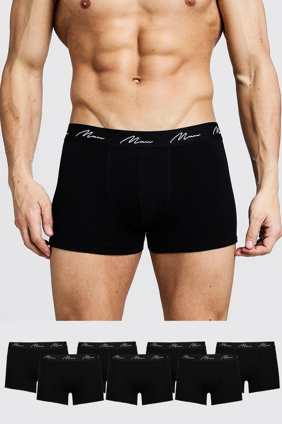 Mens Black 7 Pack MAN Signature Trunks