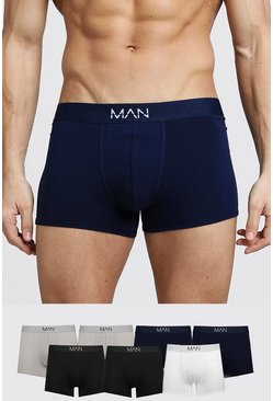 Mens Multi 7 Pack Mixed Colour MAN Trunks
