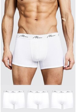 White 3 Pack MAN Signature Trunks