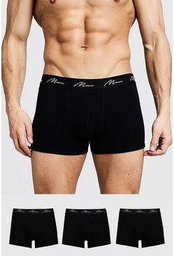 Mens Black 3 Pack MAN Signature Trunks