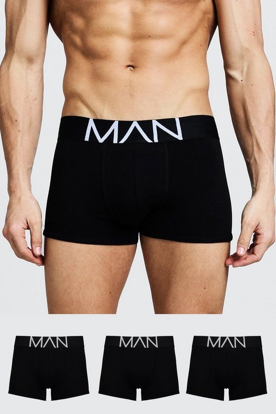 Mens Black 3 Pack MAN Trunks