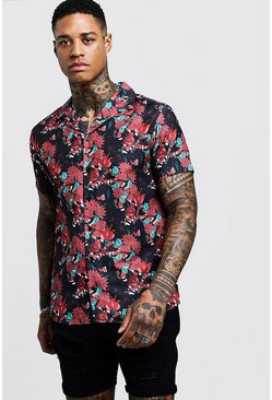 Mens Black Floral Snake Print Short Sleeve Revere Shirt
