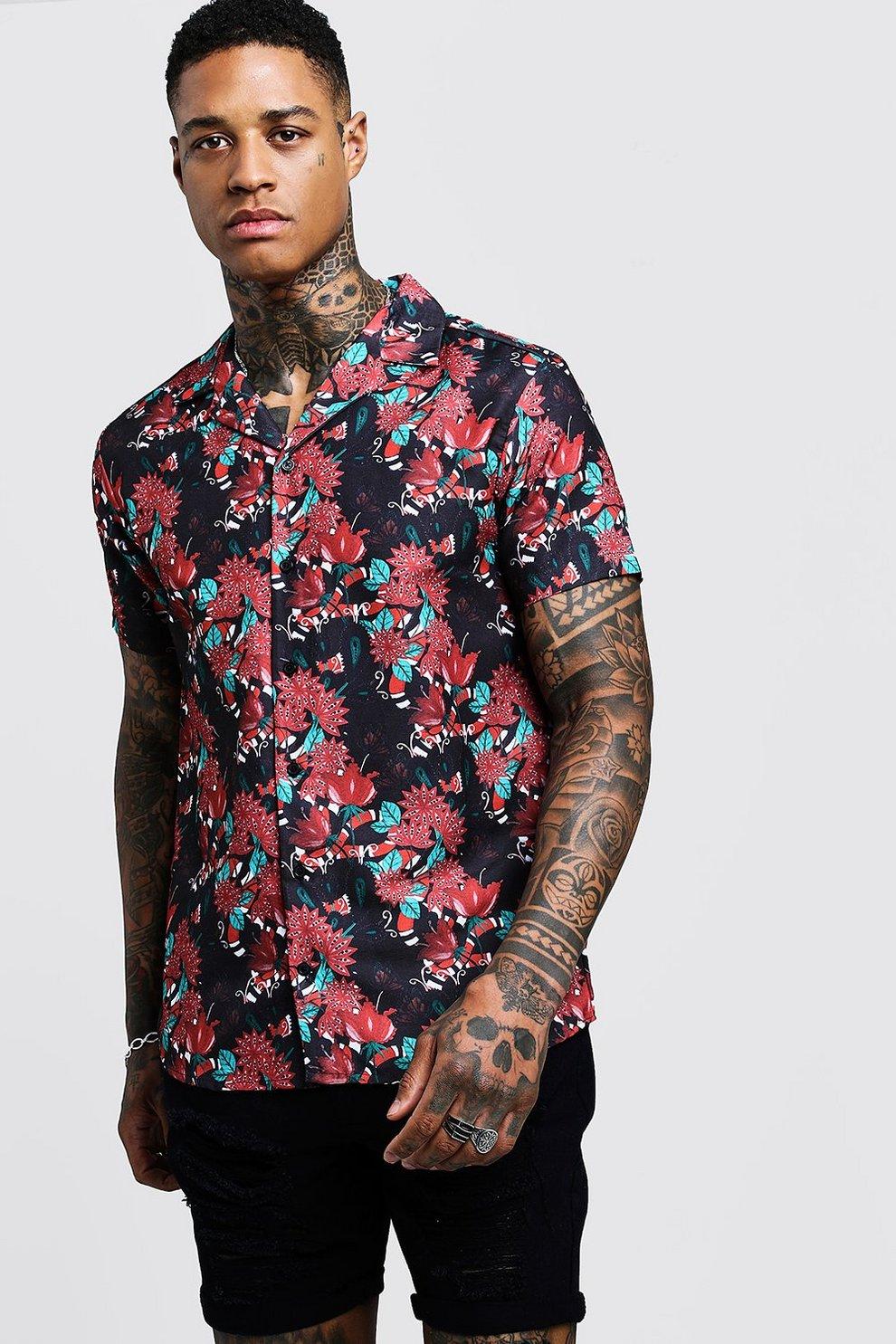 c64ba1e55f5a Floral Snake Print Short Sleeve Revere Shirt | Boohoo