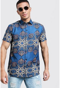 Herr Blue Tile Print Short Sleeve Shirt