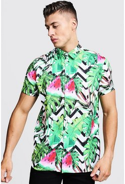 Mens Green Watermelon Print Short Sleeve Shirt