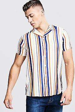 Multi Stripe Print Short Sleeve Revere Shirt