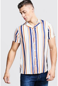 Mens White Multi Stripe Print Short Sleeve Revere Shirt