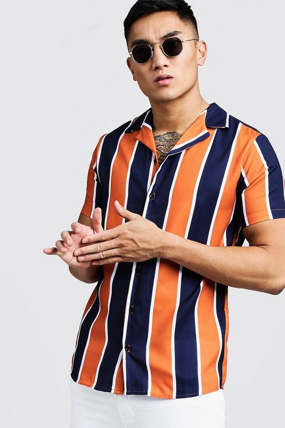 Mens Navy Orange Stripe Short Sleeve Revere Shirt