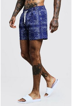 Mens Blue Bandana Printed Swim Shorts