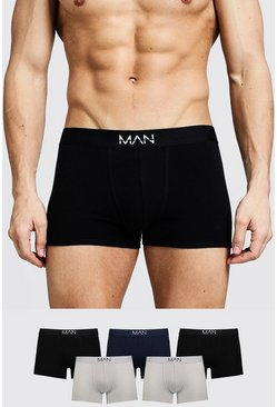 Mens Multi 5 Pack Mixed Colour MAN Trunks