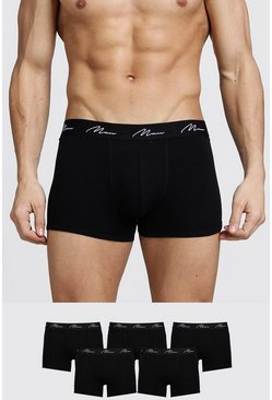 Mens Black 5 Pack MAN Signature Trunks