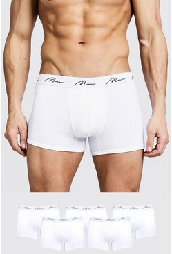 Lot de 5 boxers MAN Signature, Blanc