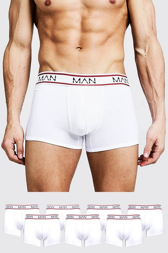 Mens White 7 Pack MAN Sport Trunks
