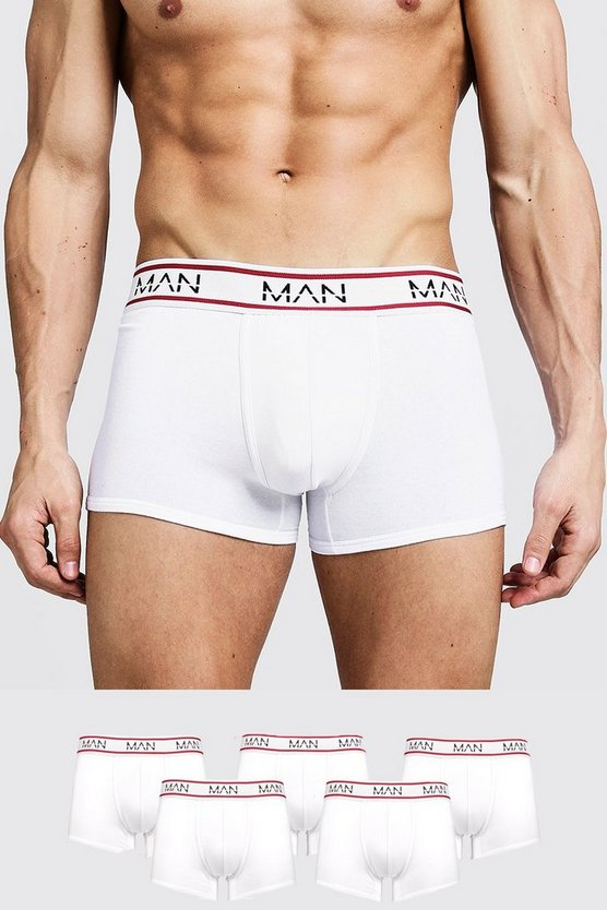 Mens White 5 Pack MAN Sport Trunks