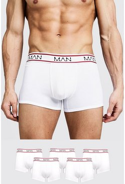 White 5 Pack MAN Sport Trunks