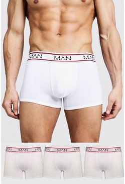Mens White 3 Pack MAN Sport Trunks